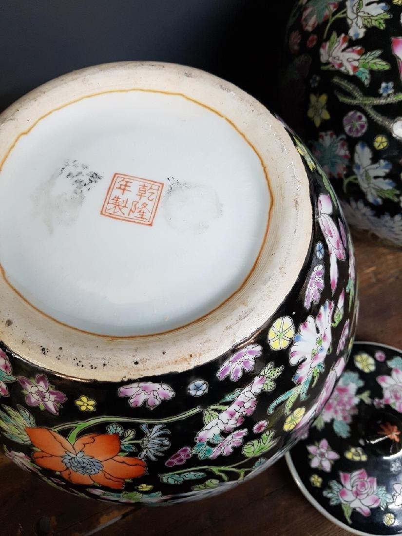 Pair of Chinese Famille Noir Ginger Jars - 3