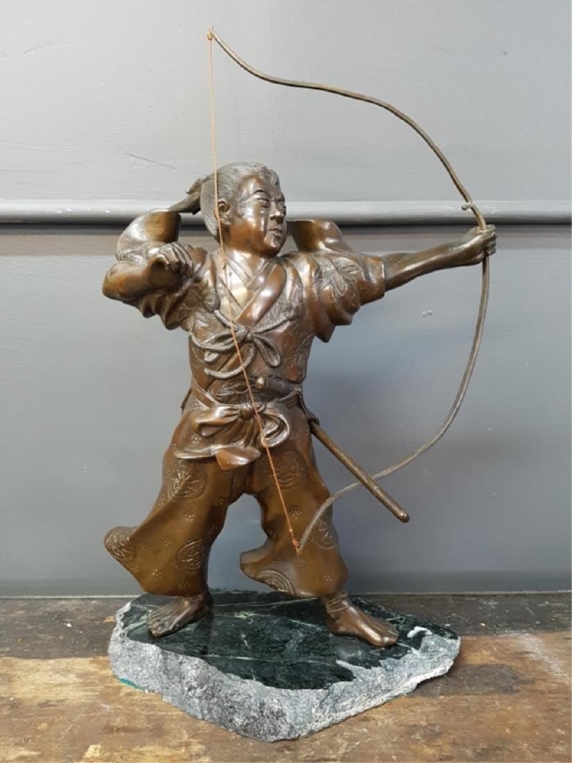 Japanese Bronze Samurai Sculpture On Marble Base