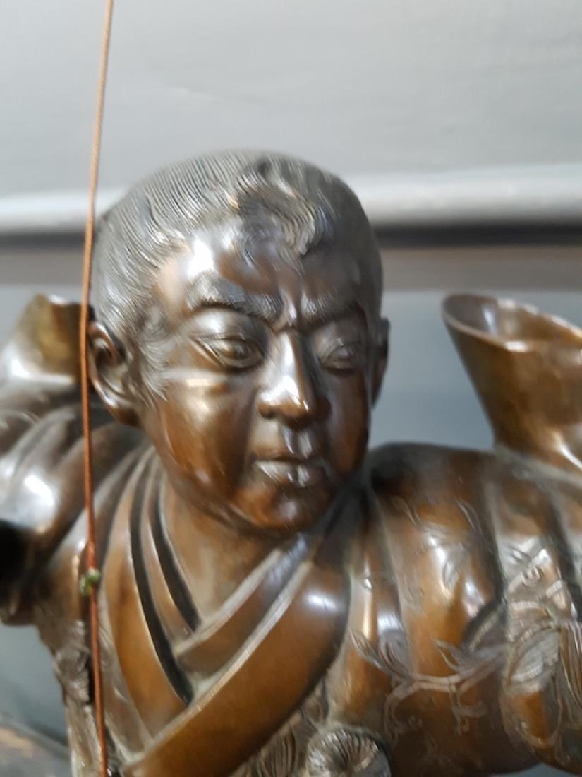 Japanese Bronze Samurai Sculpture On Marble Base - 2