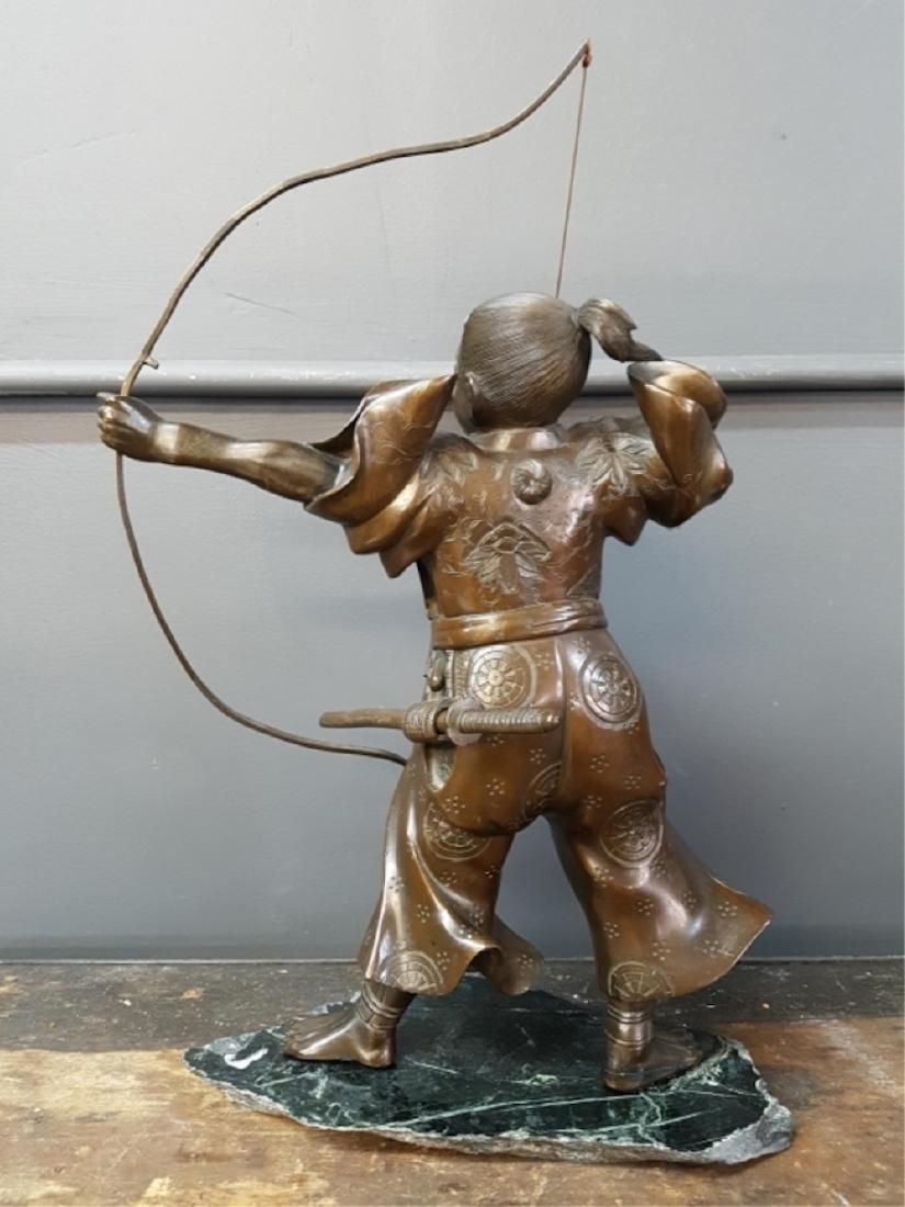 Japanese Bronze Samurai Sculpture On Marble Base - 3