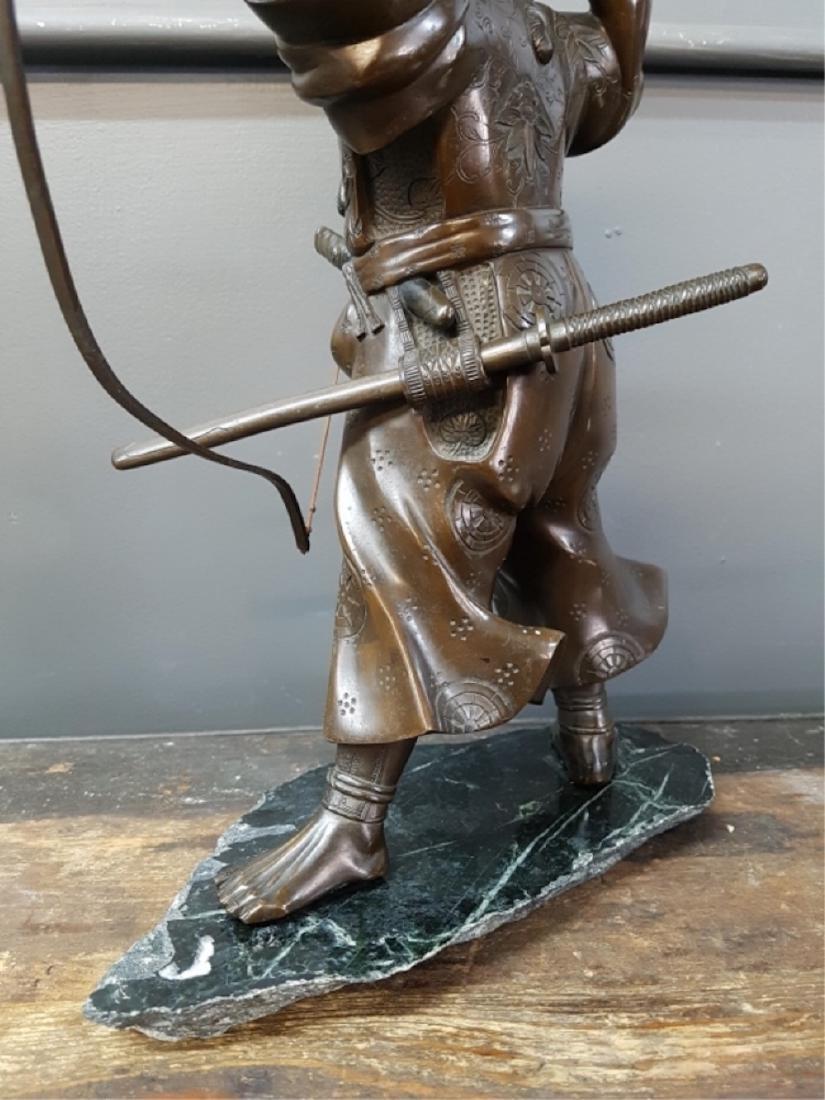 Japanese Bronze Samurai Sculpture On Marble Base - 4