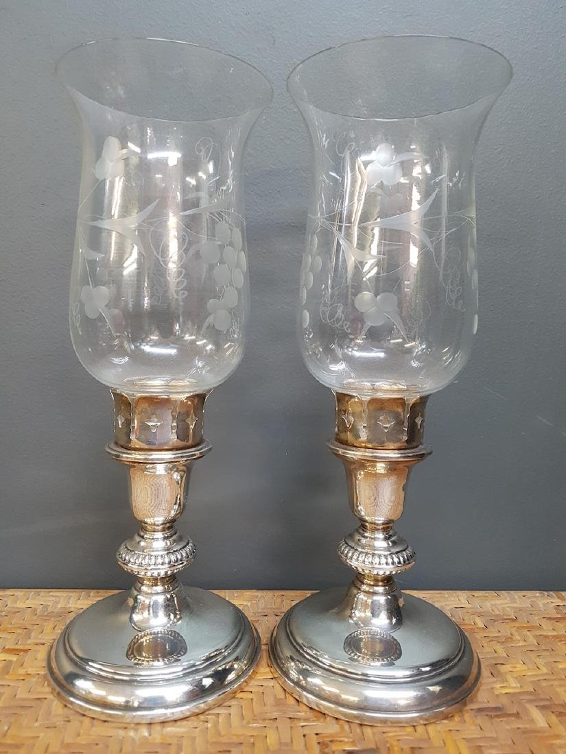 Pair of Silver Plated Candlesticks with Shades