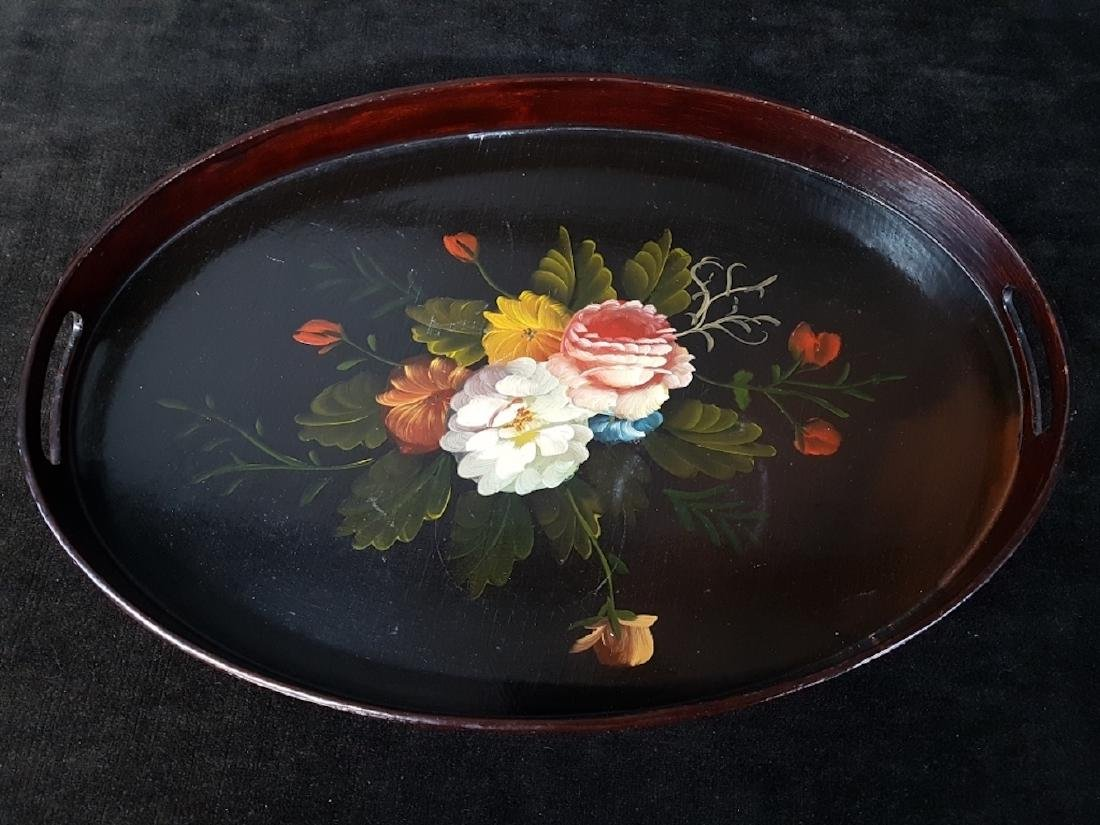 Vintage Floral Hand Painted Serving Tray