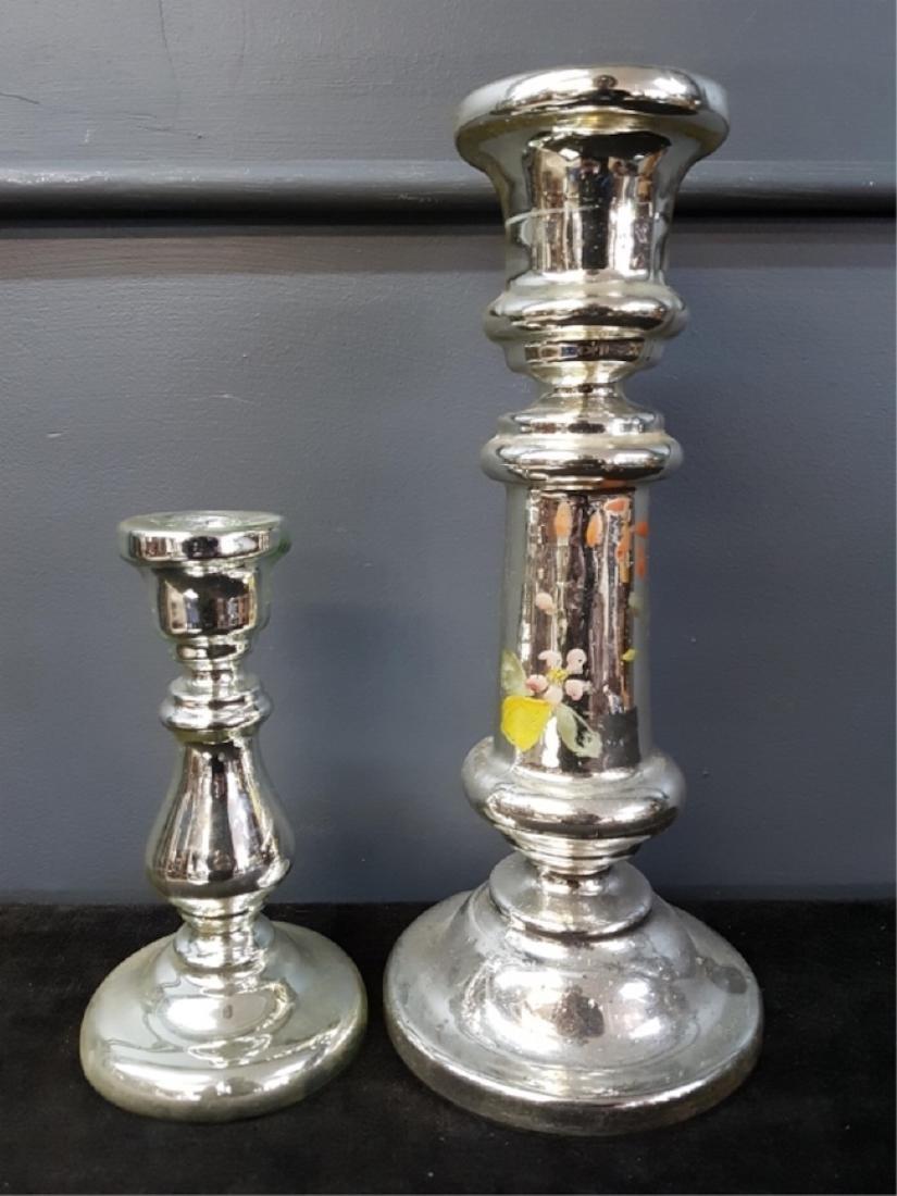 Lot of Two Mercury Glass Candlesticks