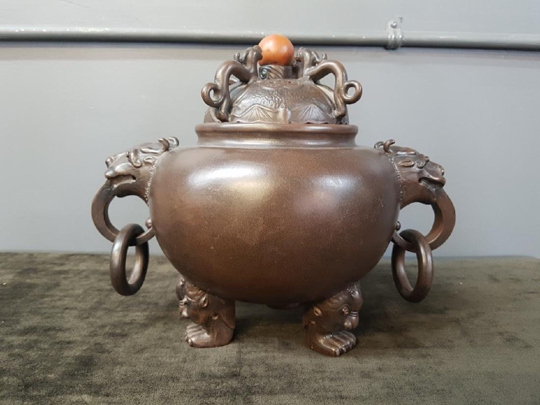 Chinese Yixing Clay Figural Incense Burner