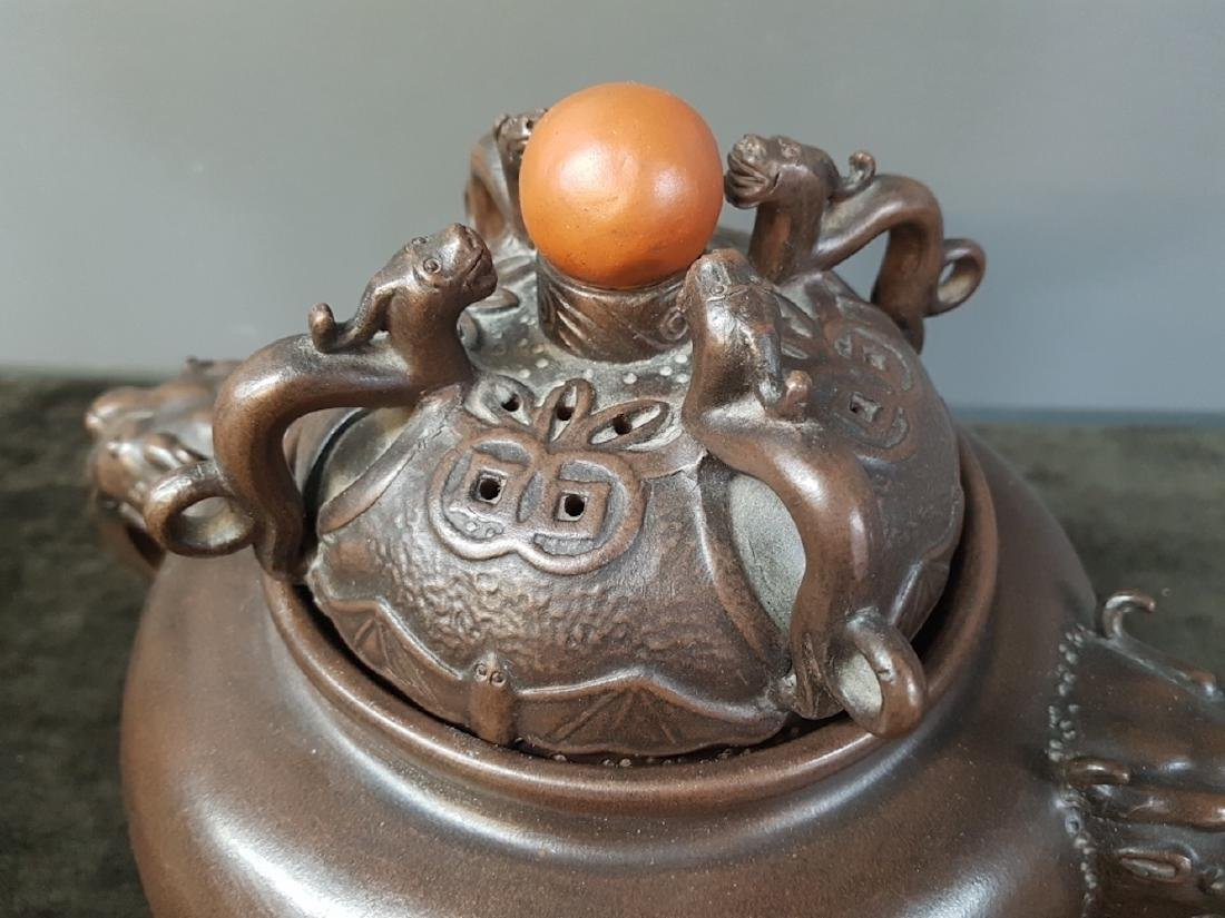 Chinese Yixing Clay Figural Incense Burner - 3