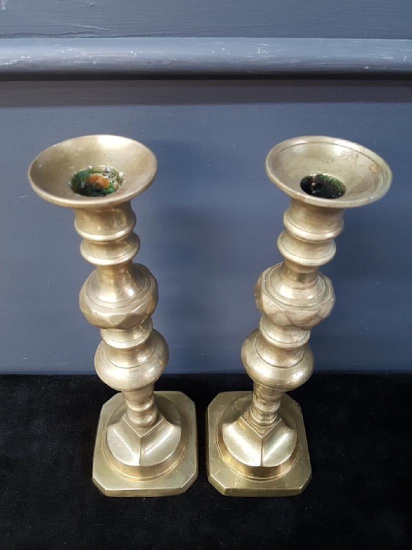 Pair of Heavy Brass Candlesticks - 2