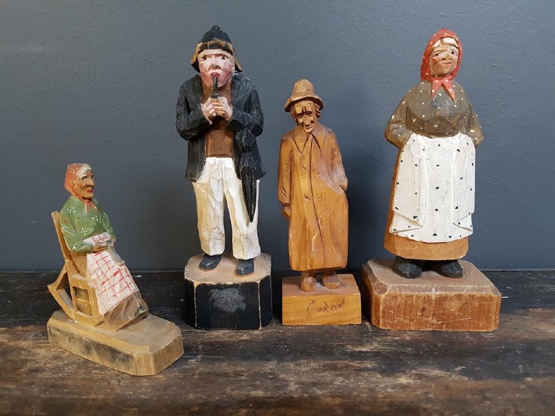 Lot of Carved Handpainted Folk Art Figurines