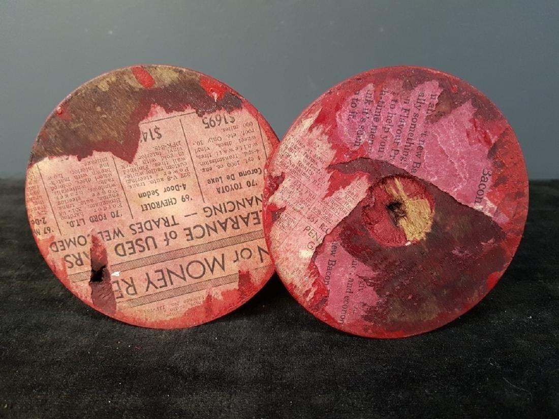 Pair of Vintage Red Wood Turned Candlesticks - 3