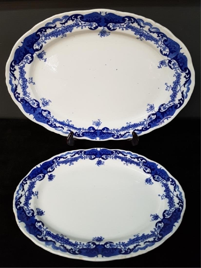 Lot of Two Blue and White Transferware Platters