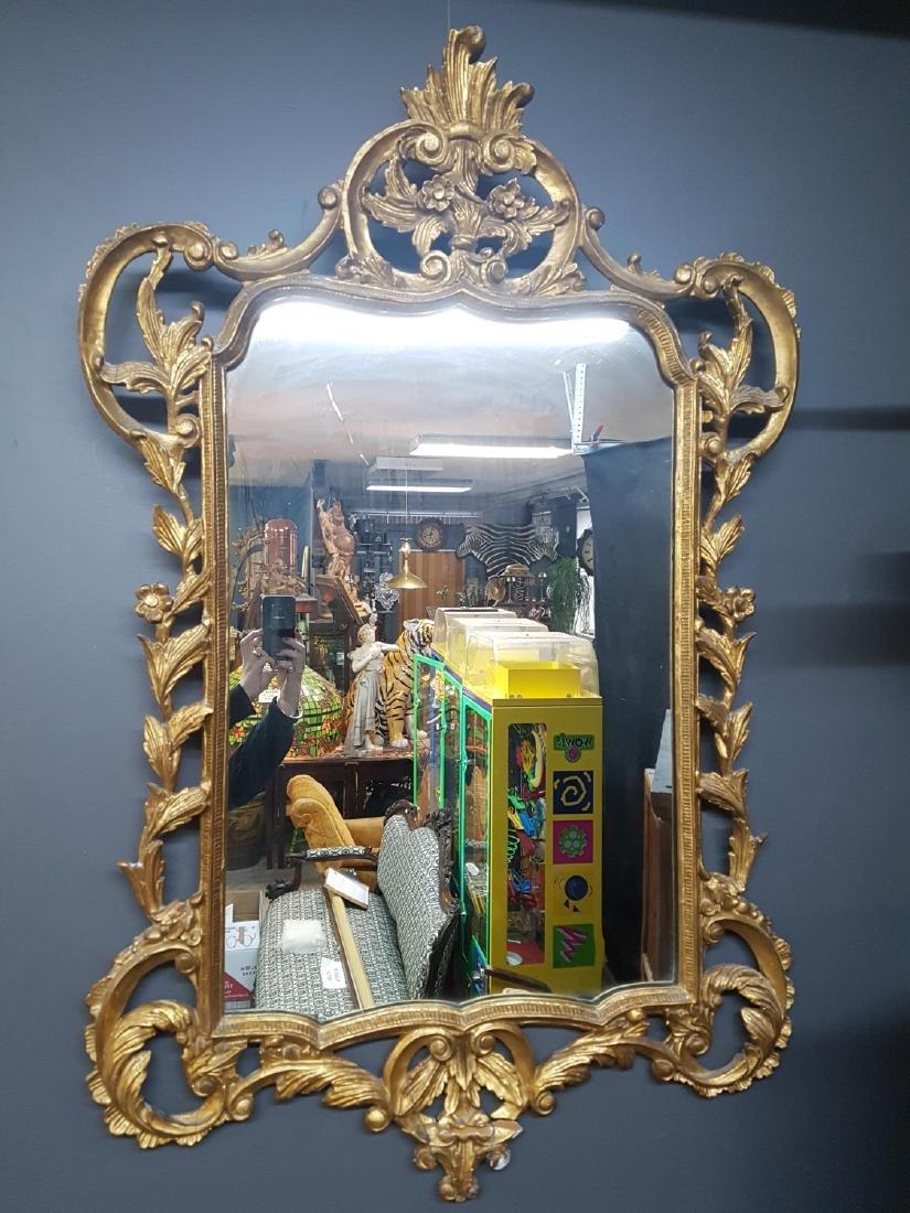 Large Antique Carved Wood Gilt Framed Mirror