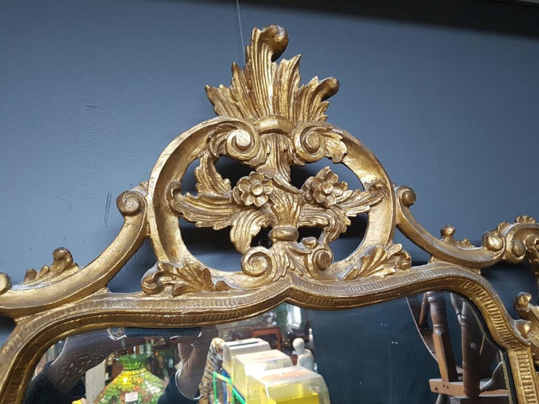 Large Antique Carved Wood Gilt Framed Mirror - 4