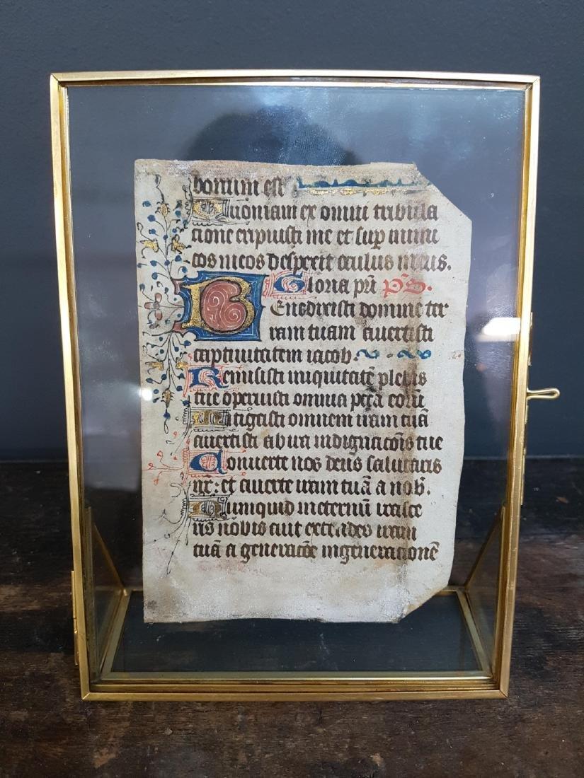 Gothic Illuminated Manuscript Leaf