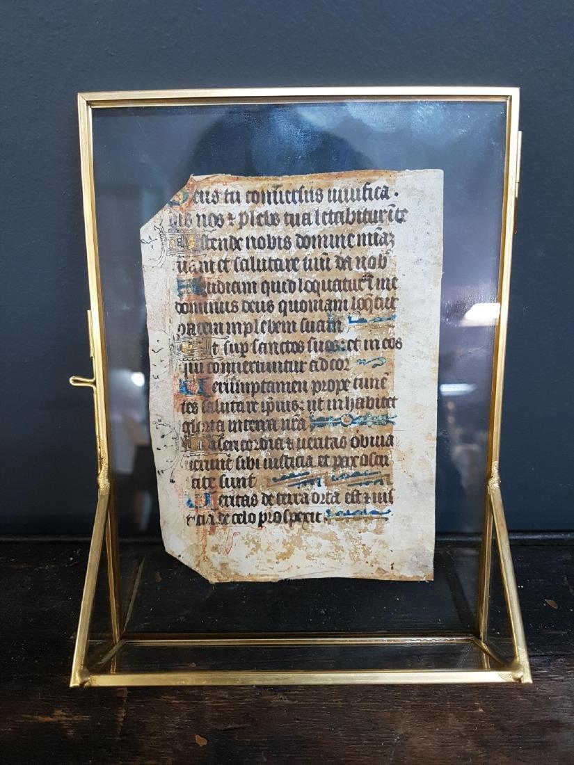 Gothic Illuminated Manuscript Leaf - 2