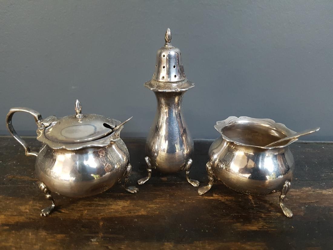 Set of 3 Victorian Silver Hallmarked Condiments