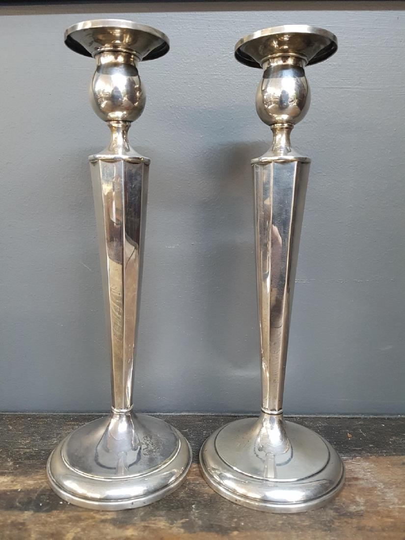Pair of Sterling Silver Candlesticks, Stamped