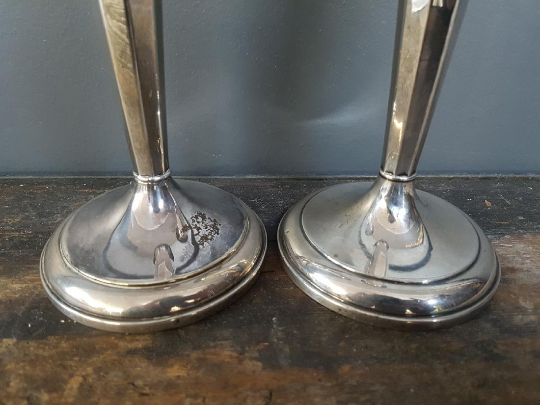 Pair of Sterling Silver Candlesticks, Stamped - 2