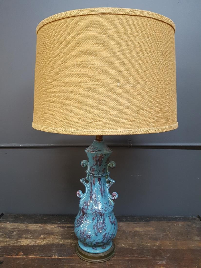 Vintage MC Blue Purple Glazed Ceramic Lamp