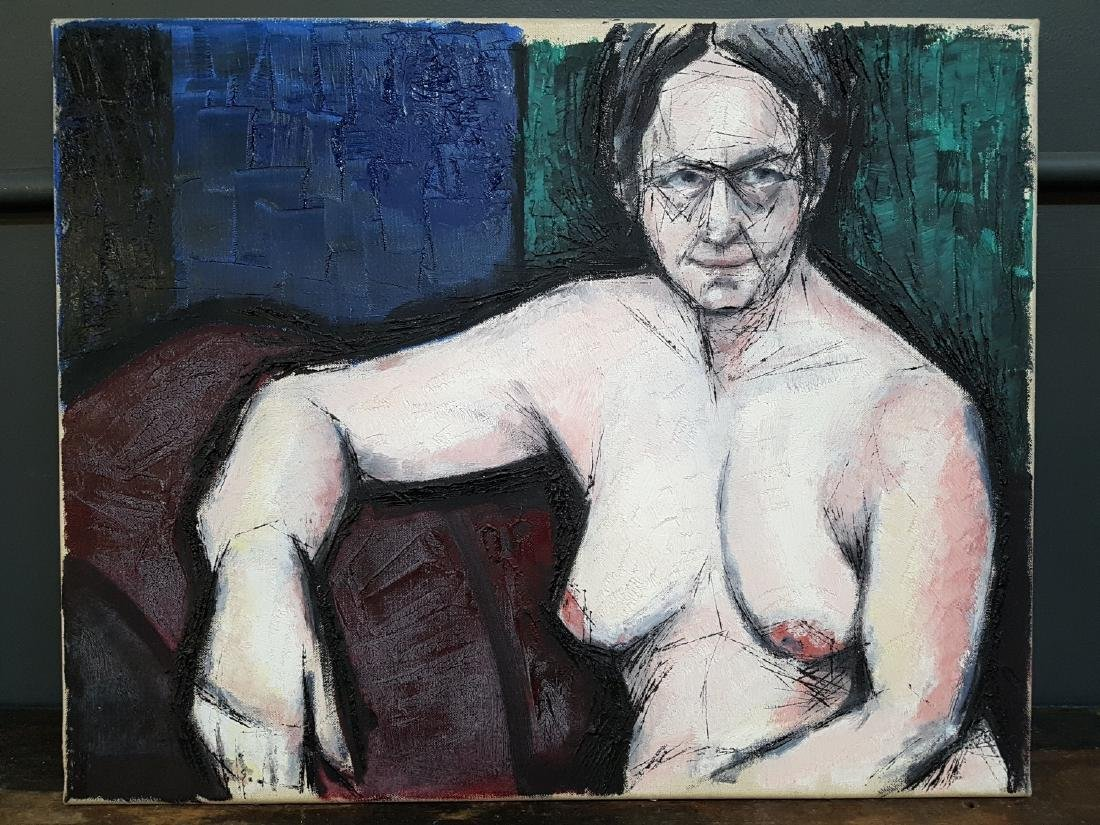 MCM Oil on Canvas, Unsigned Seated Nude
