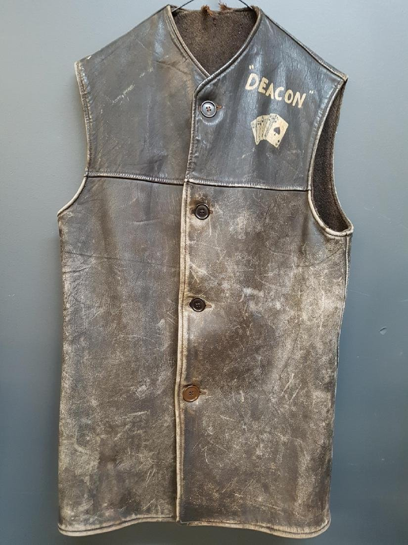 Vintage 1940s Leather Vest, Deacon