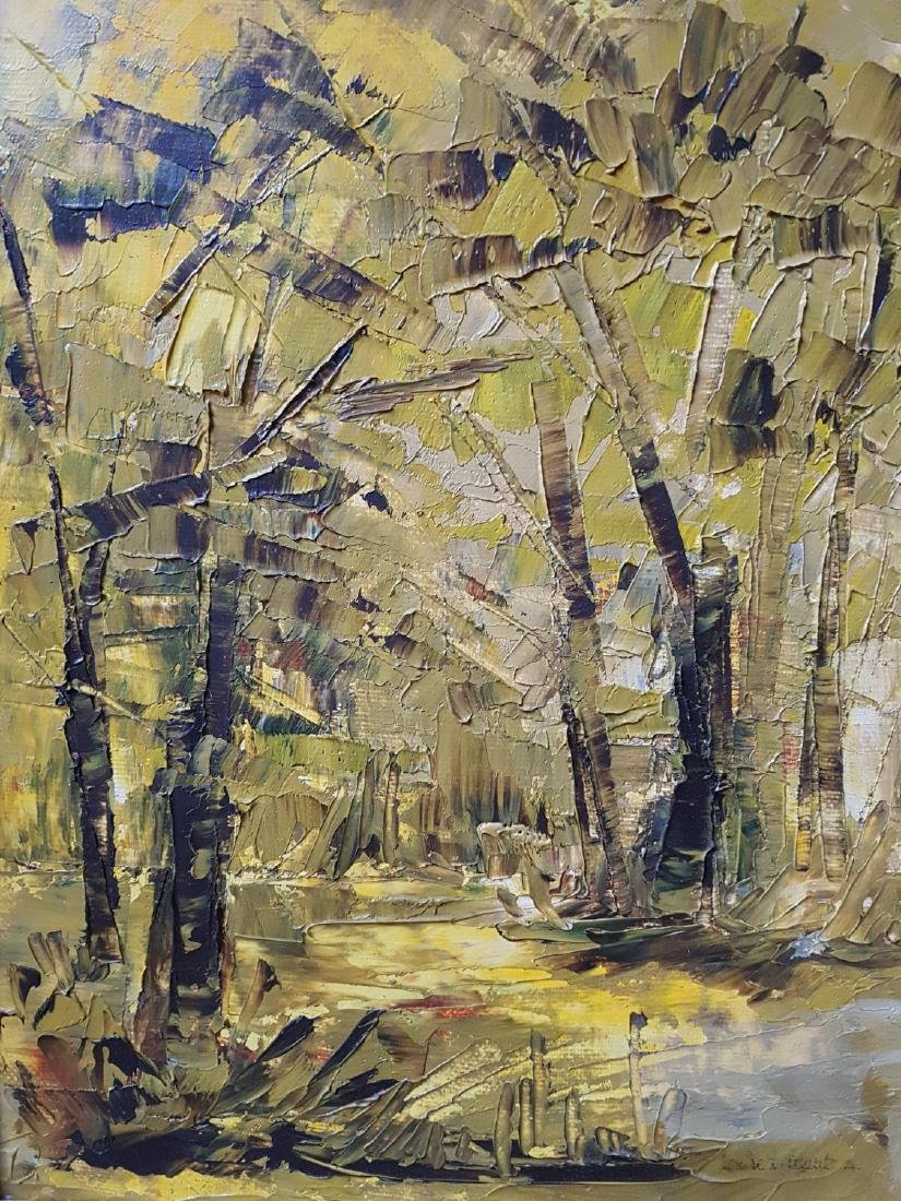 Green Forest Oil Painting Signed Louise L Legault.