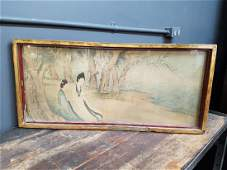Antique Chinese Watercolour On Silk Qing Dynasty