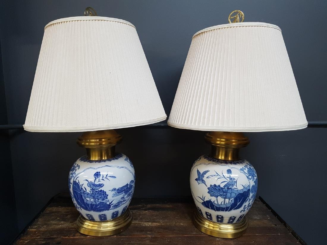 Pair Of Chinese Blue And White Porcelain Lamps
