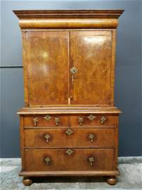 William and Mary Burl Walnut Cabinet on Chest