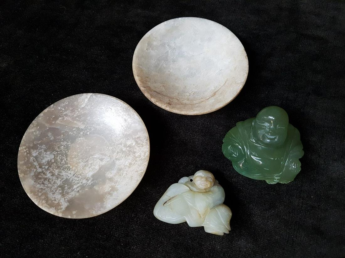 Lot Of 4 Stone Carvings Jade Chinese Figures