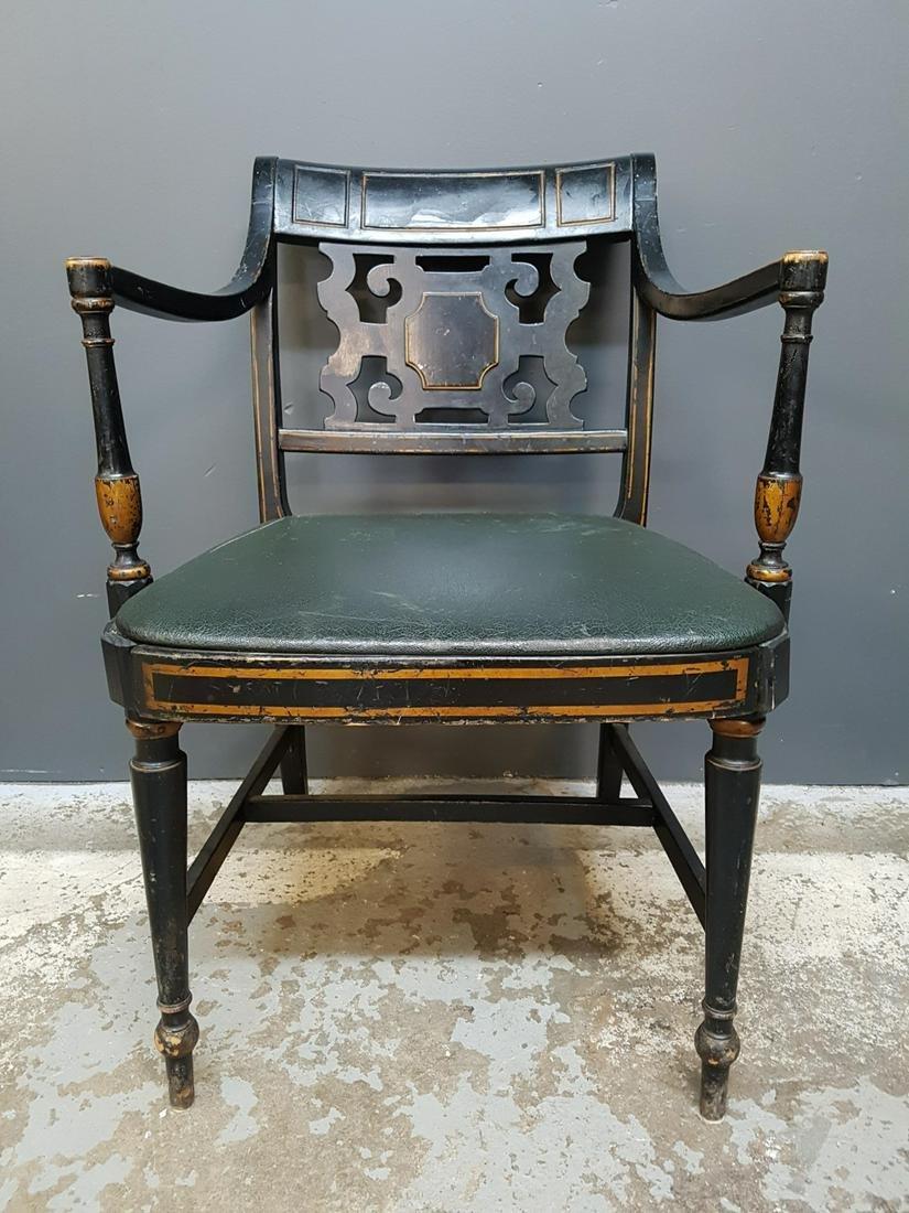 19th Century Regency Ebonized Carved Armchair
