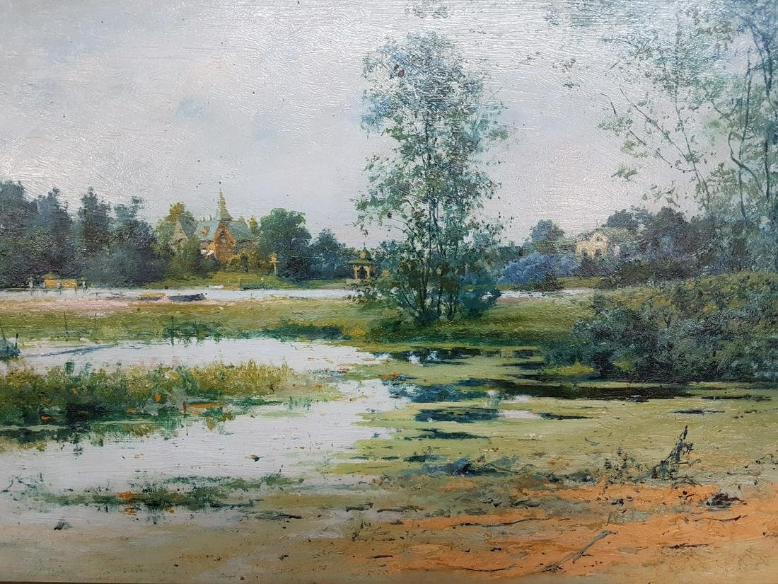 Unsigned Oil on Board Landscape Painting