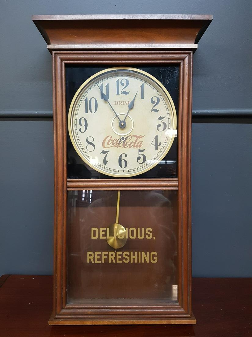 1970s Coca-cola Wall Clock With Pendulum
