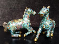 Pair of Chinese Gilt and Cloisonne Horses