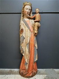 15th C. French Carved Wood Madonna and Child