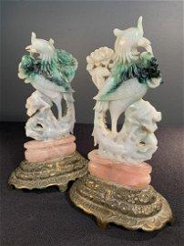 Pair of Antique Chinese Jade Phoenix