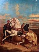19th C Orientalist Oil on Board signed Rogelio
