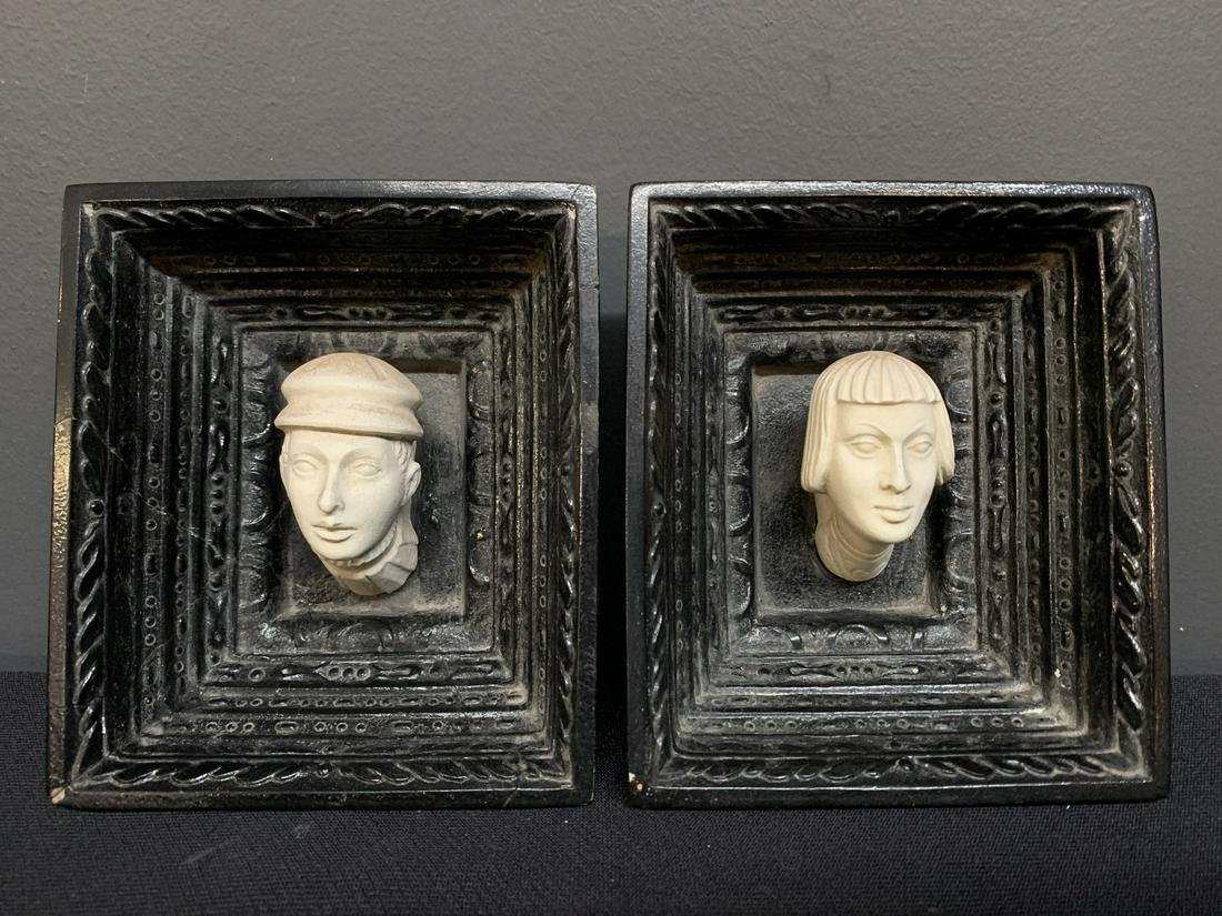 Pair of Plaster, Chalkware Cast Framed Busts