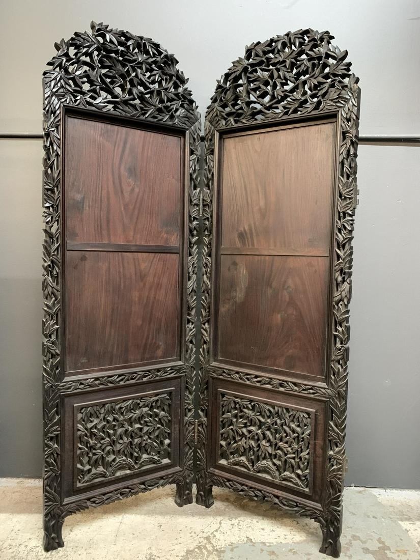 Antique Chinese Carved Hardwood Screen