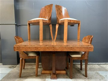 Art Deco Burl Walnut Dining Room Table, Chairs