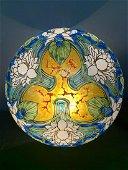 Art Nouveau Enameled Glass Shade Signed Legras