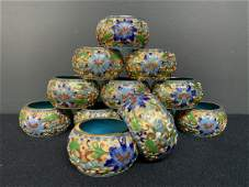 Lot of 12 Chinese Cloisonne Napkin Rings
