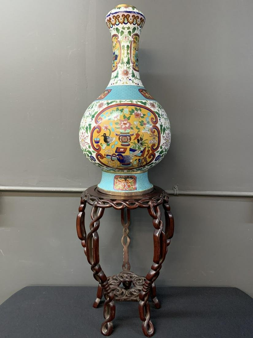 Large Chinese Cloisonne Vase on Carved Wood Stand