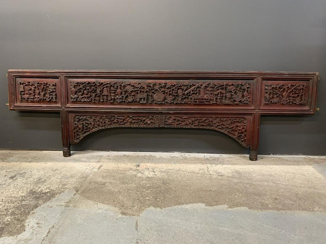 Chinese Carved Wood Opium Bed Panel, Red Lacquer