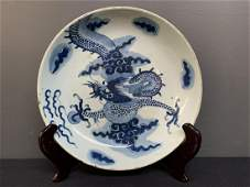 Chinese Porcelain Blue and White Bowl Dragon