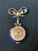 18K Gold Blue Enamel Brooch Pendant Watch, Diamond
