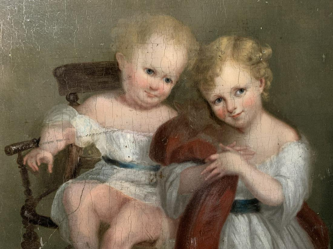18th C. European Oil On Panel, Two Children