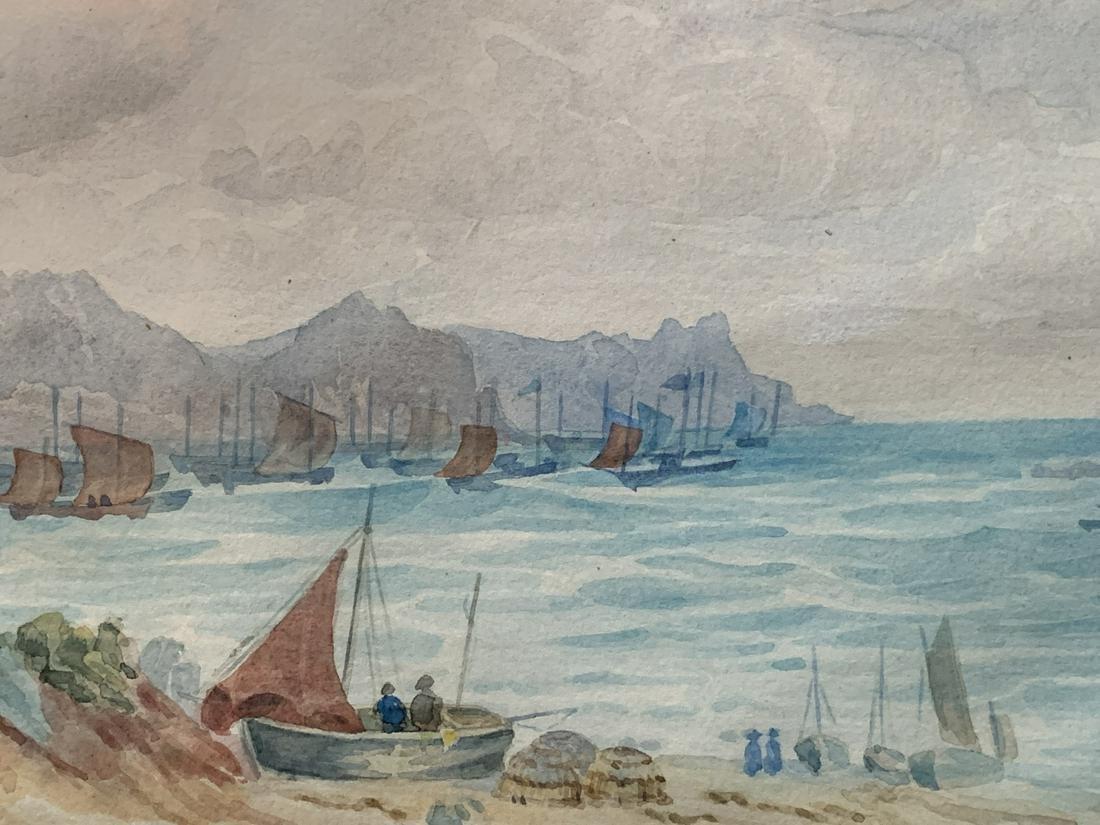 Late 19th C Watercolor, Coastal Harbor Scene