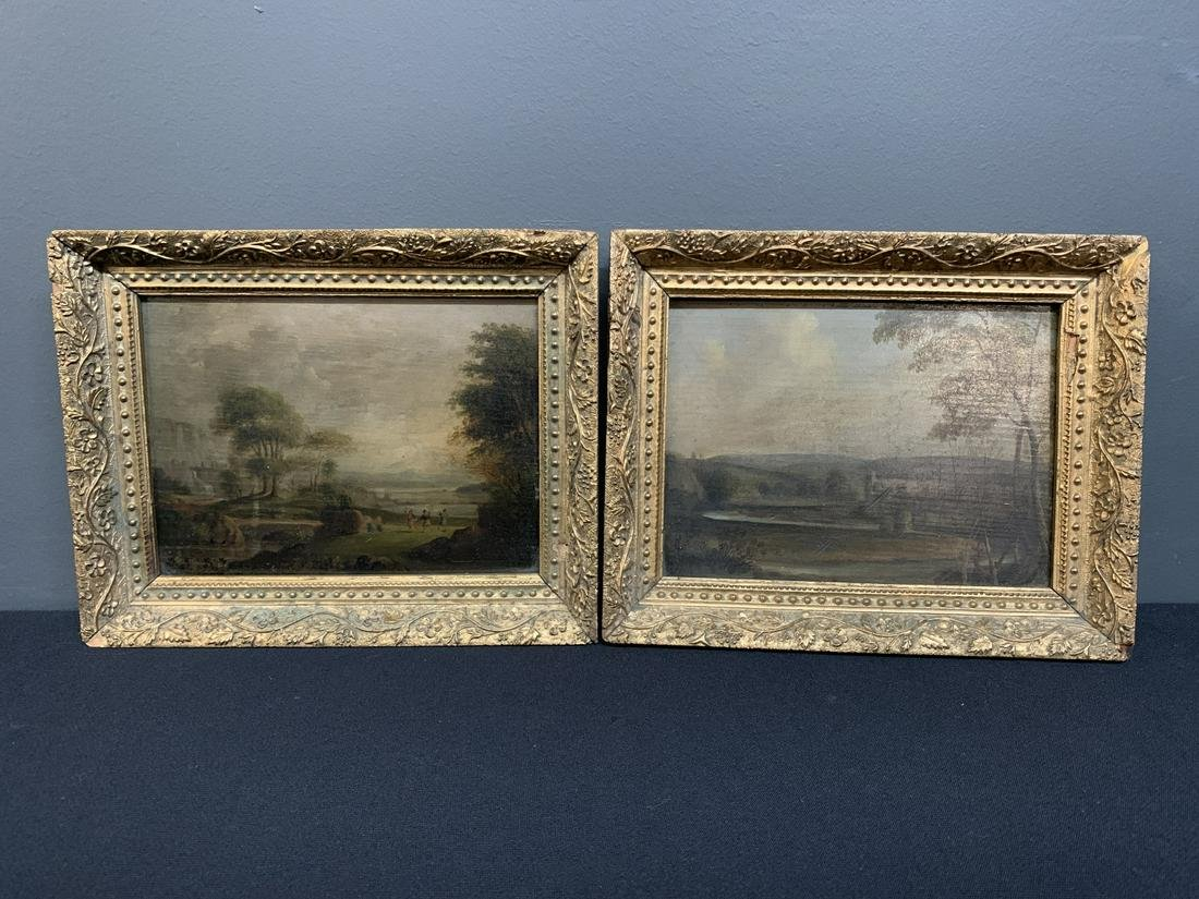 Pair Victorian Oil Paintings on Panel, Landscapes