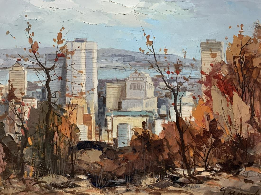 Geza Marich Oil on Canvas Montreal Skyline