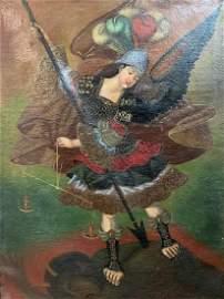 Peru Cuzco School Archangel Michael VS Satan Oil Canvas
